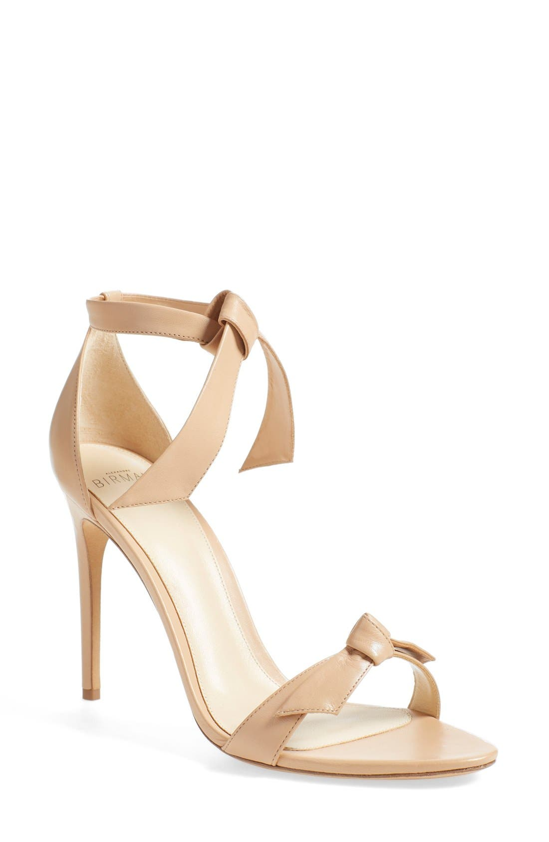 'Clarita' Ankle Tie Sandal,                             Main thumbnail 1, color,                             Nude Soft Leather