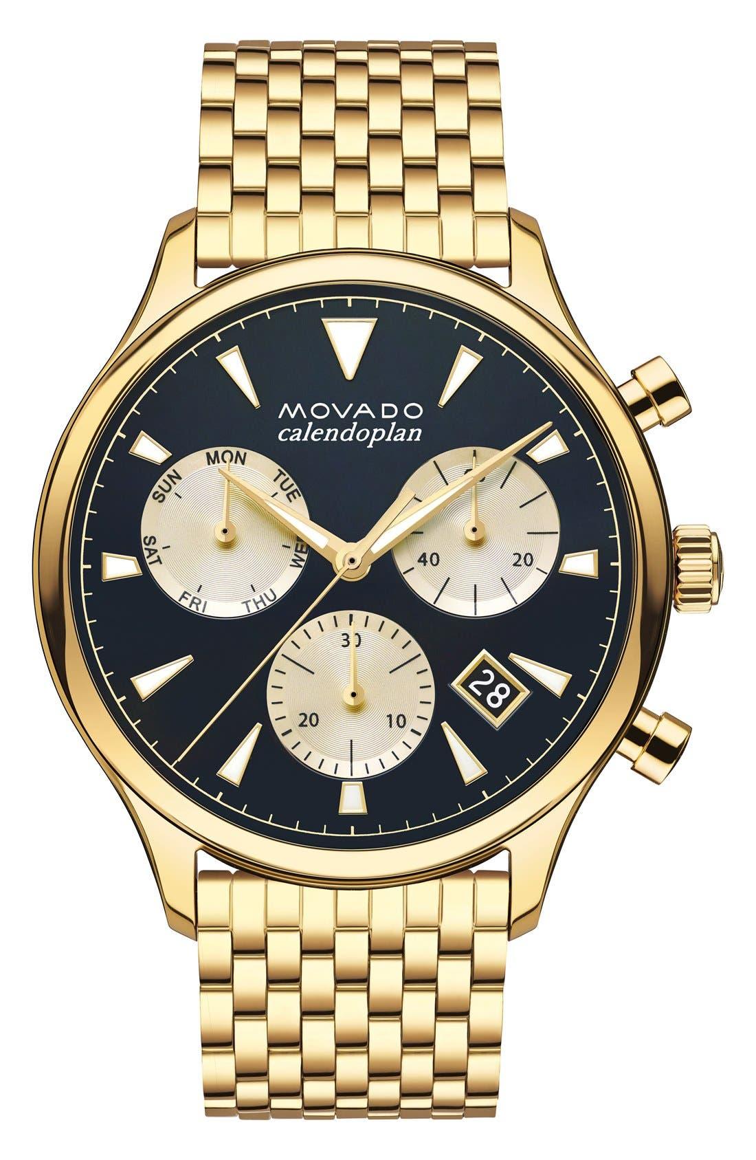 Heritage Chronograph Bracelet Watch, 43mm,                             Main thumbnail 1, color,                             Gold/ Blue