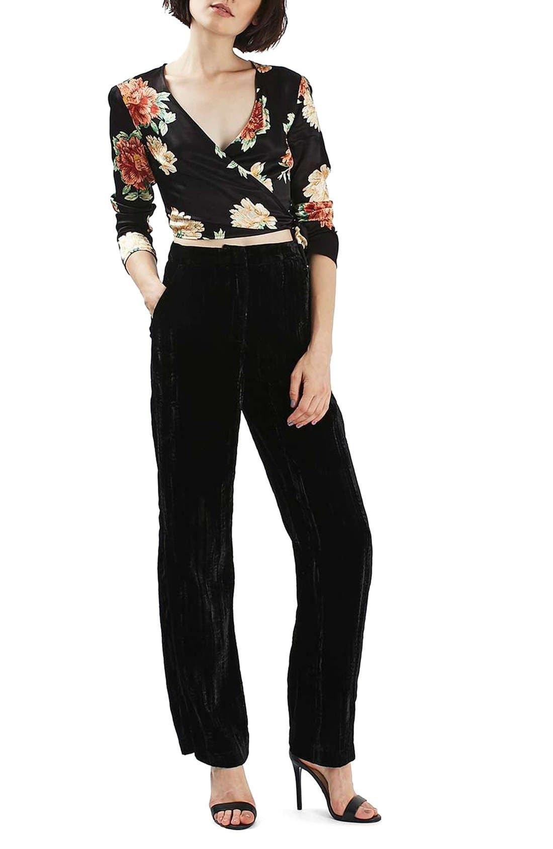 Alternate Image 2  - Topshop Sophia Floral Satin Wrap Top