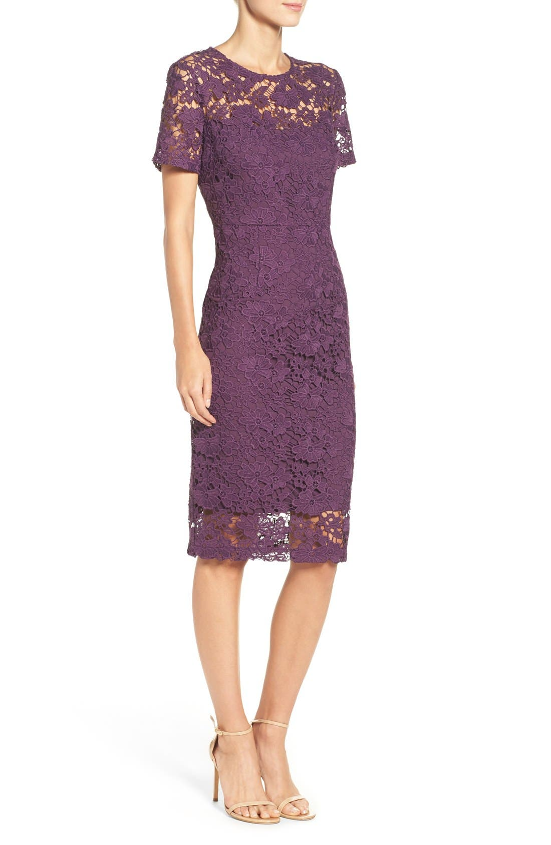 Alternate Image 3  - Donna Morgan Lace Sheath Dress (Regular & Petite)