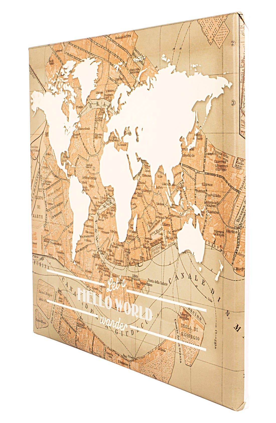 Travel the World Wall Art,                             Alternate thumbnail 3, color,                             Brown