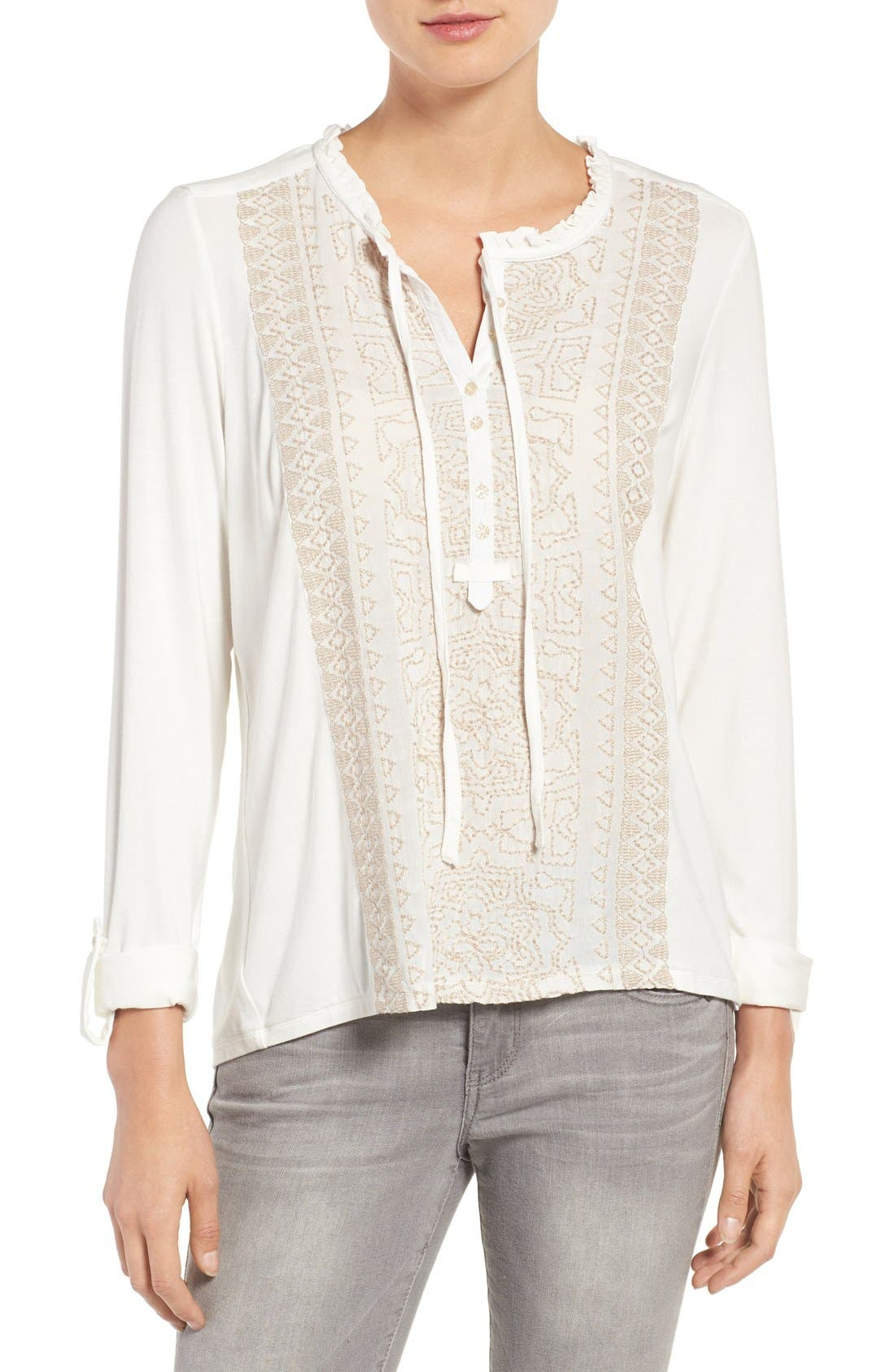 Wit & Wisdom Embroidered Ruffle Neck Top (Nordstrom Exclusive)