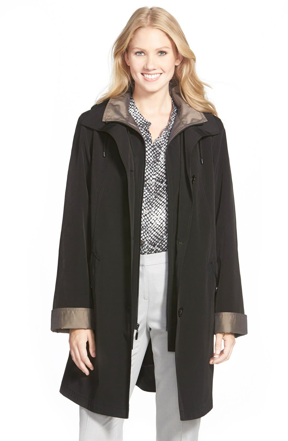 Two Tone Long Silk Look Raincoat,                             Main thumbnail 1, color,                             Black