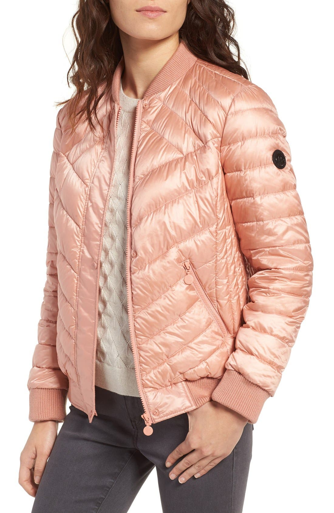 Water Resistant Insulated Bomber Jacket,                             Main thumbnail 1, color,                             Peach Blush