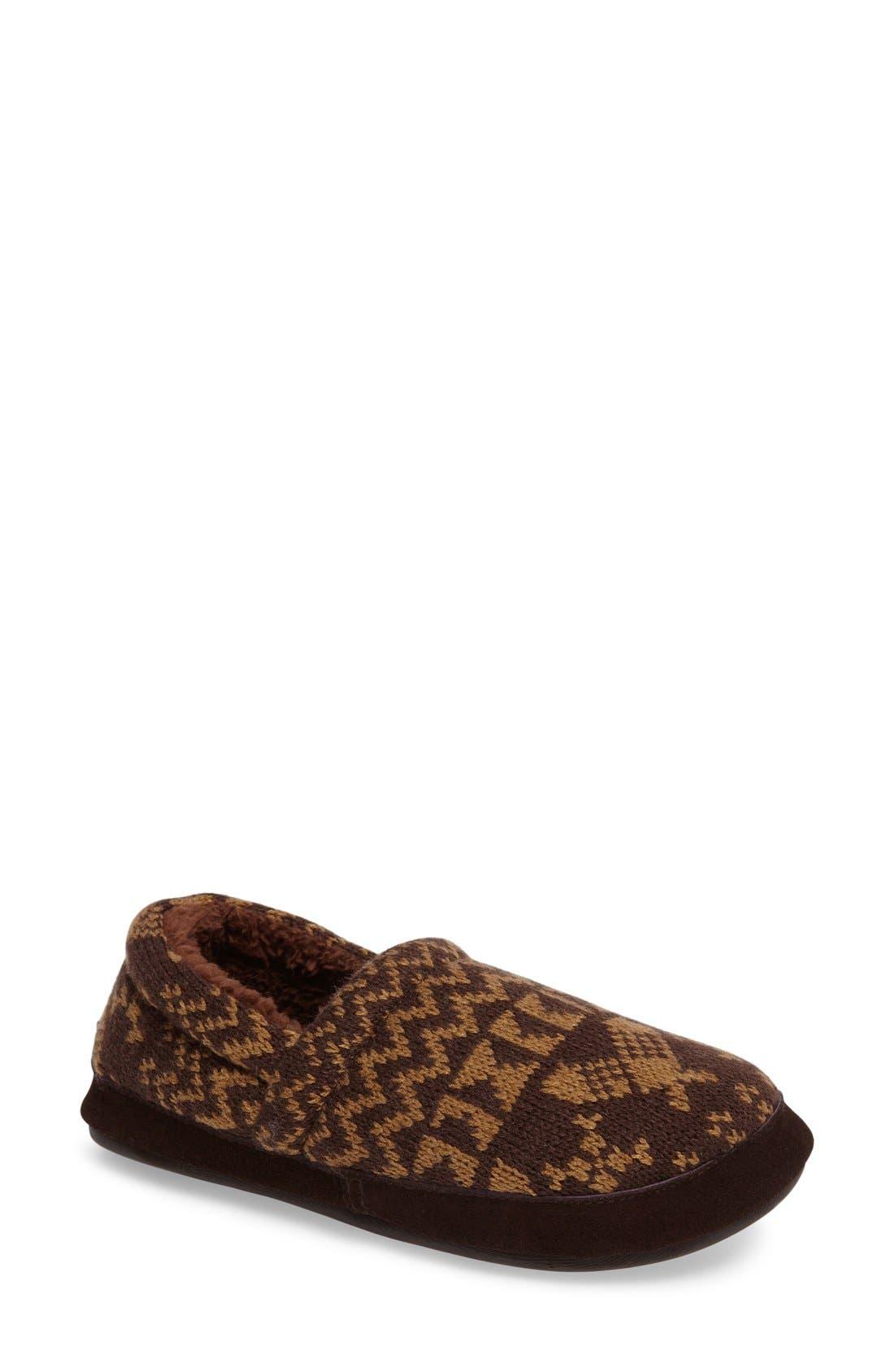 Whitecap Knit Slipper,                             Main thumbnail 1, color,                             Java Snowshoe Fabric
