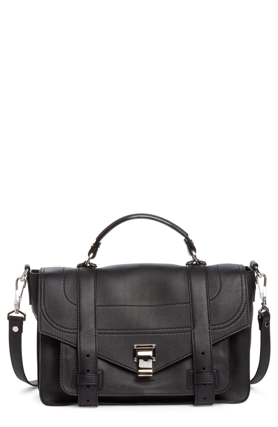 Medium PS1+ Grainy Leather Satchel,                             Main thumbnail 1, color,                             Black