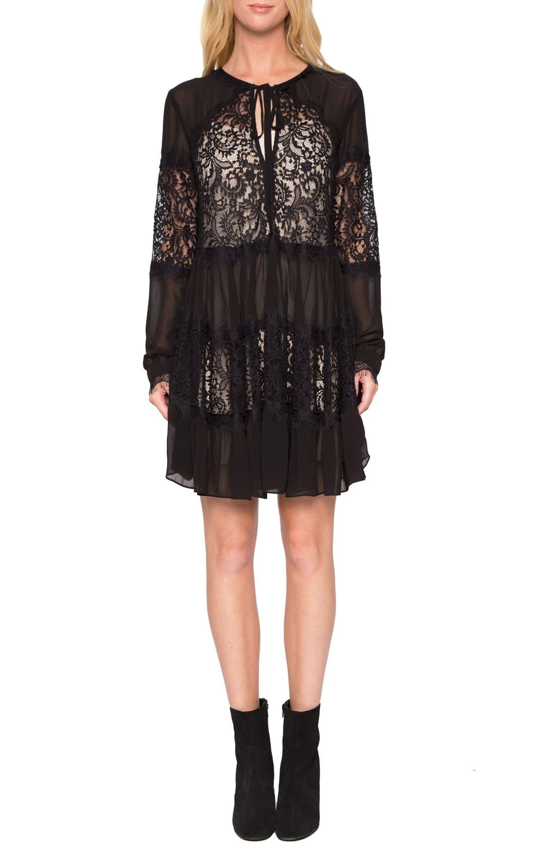 Main Image - Willow & Clay Lace Inset Fit & Flare Dress