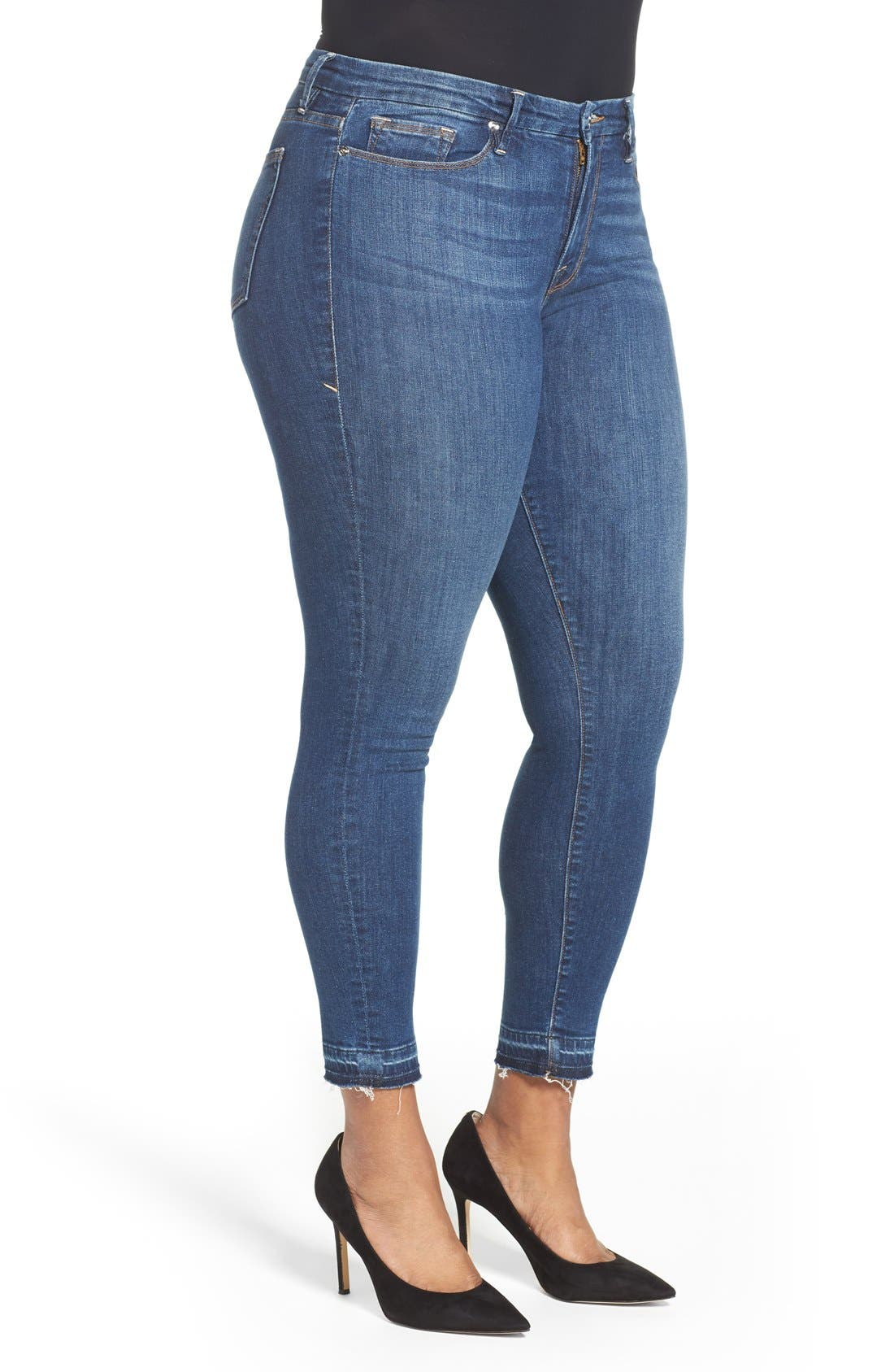 Good Legs High Rise Crop Released Hem Skinny Jeans,                             Alternate thumbnail 8, color,                             Blue 009