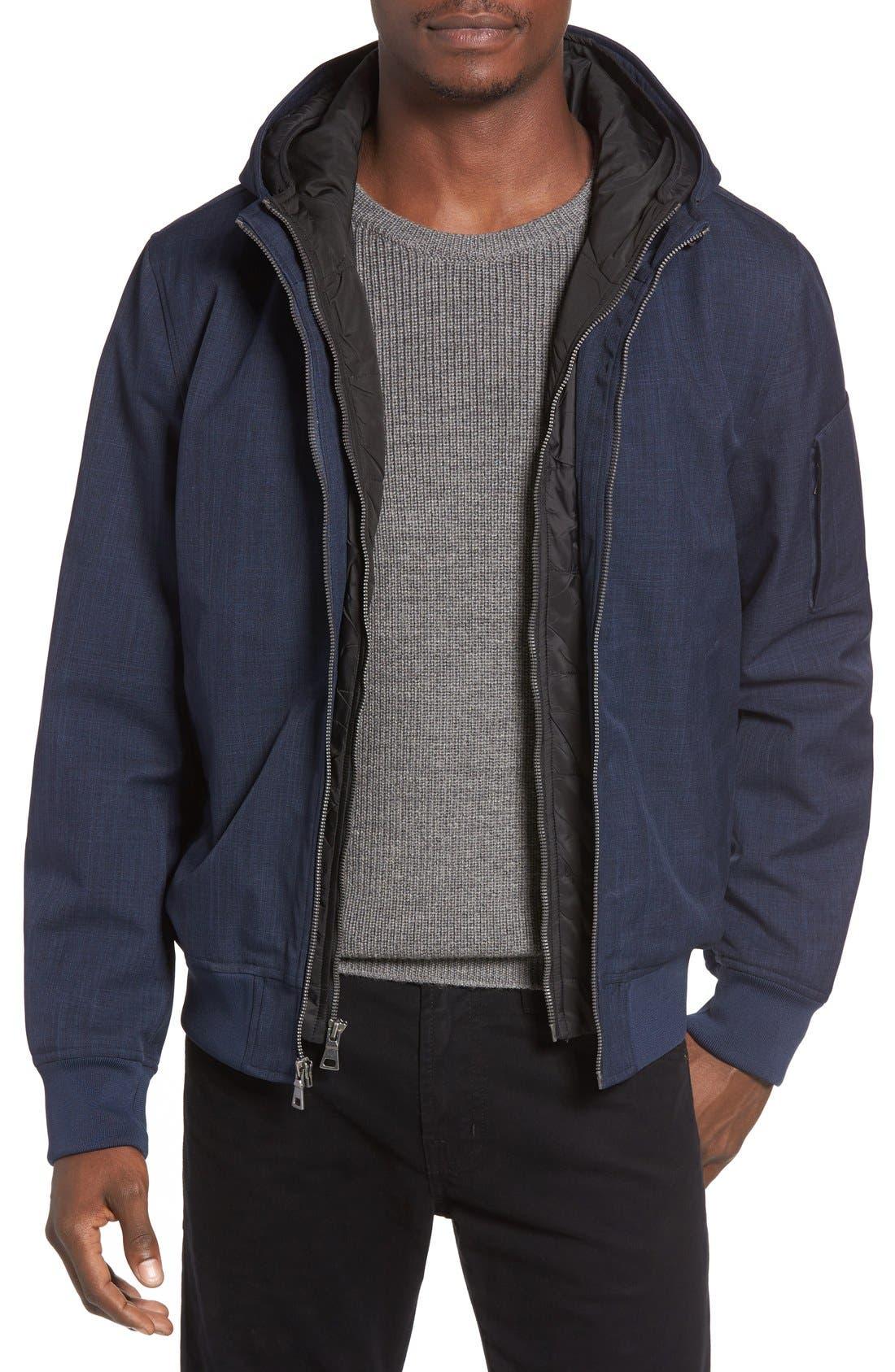 Black Rivet Hooded Jacket