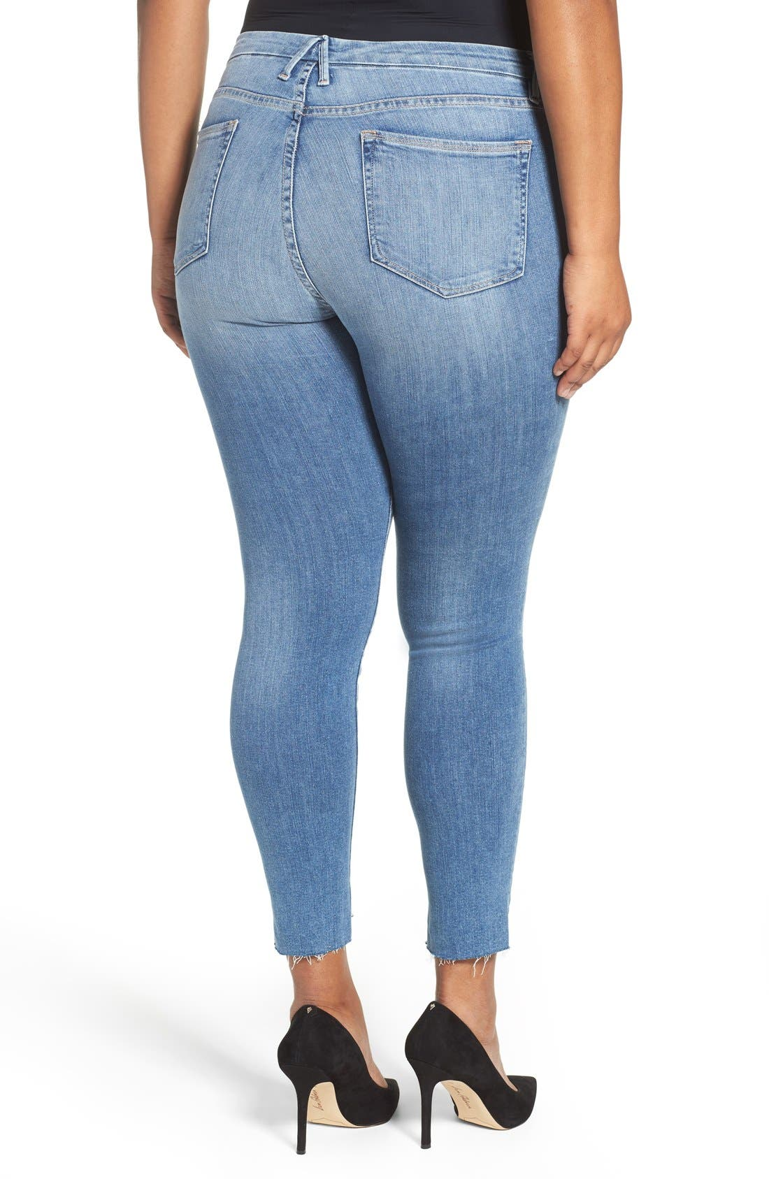 Alternate Image 7  - Good American Good Legs High Waist Skinny Jeans (Blue 007) (Extended Sizes)
