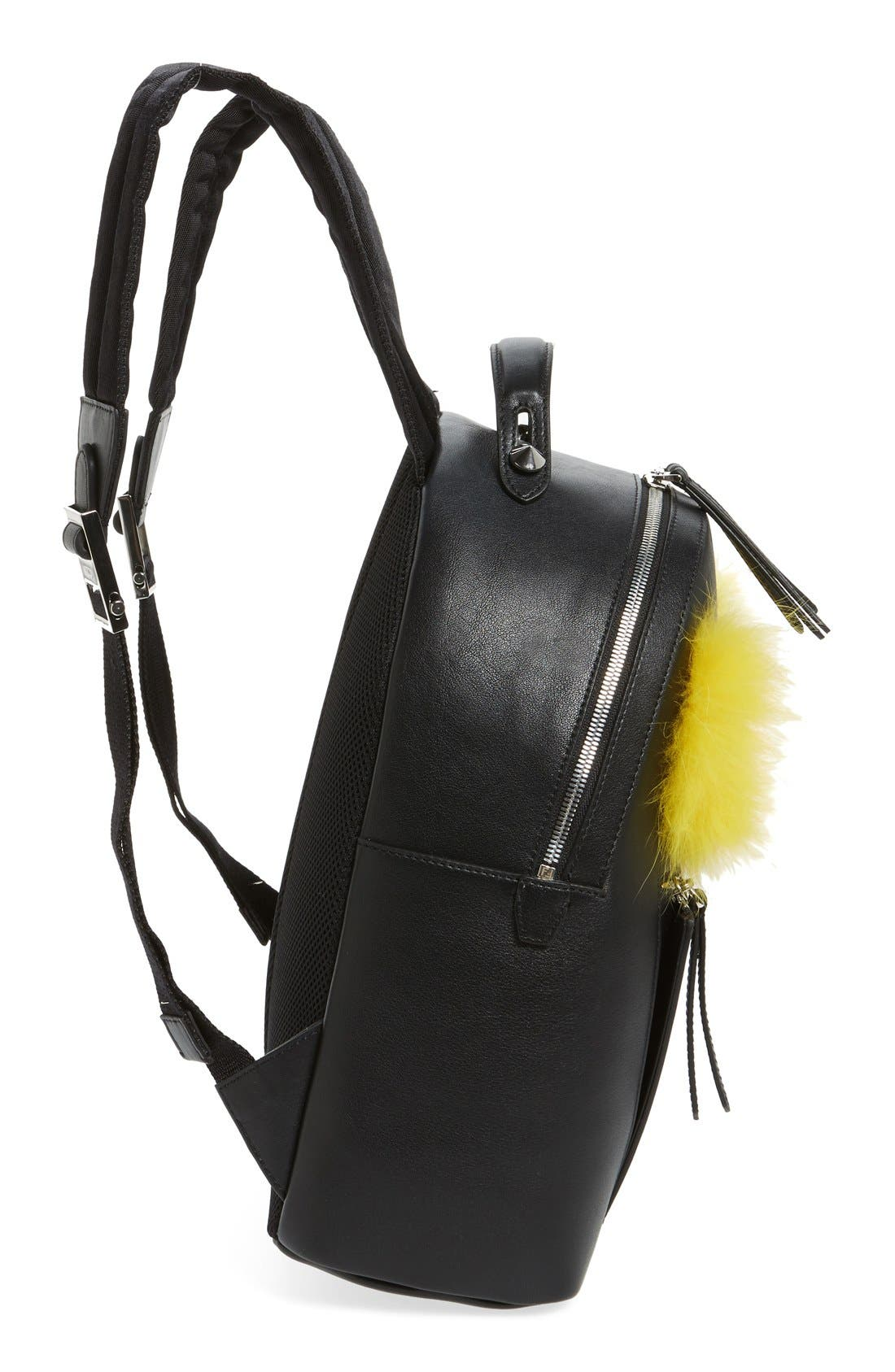 Alternate Image 5  - Fendi 'Monster' Leather Backpack with Genuine Fox Fur & Snakeskin Trim