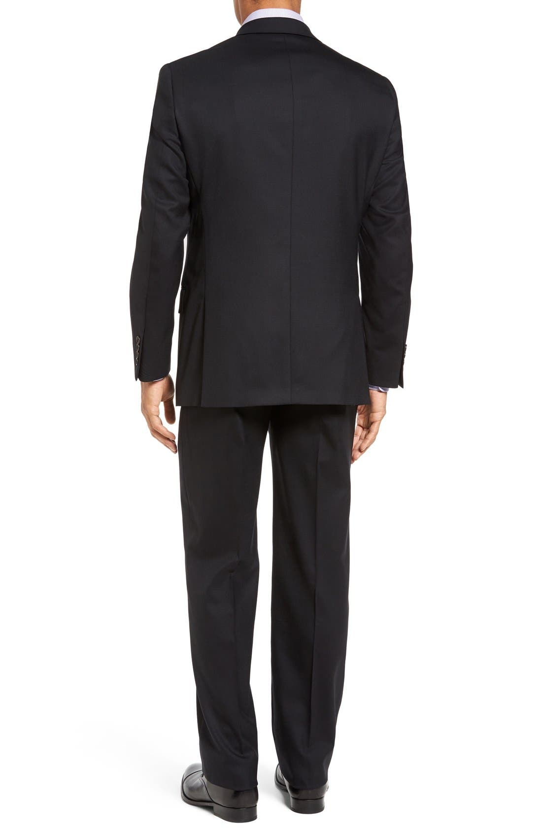 New York Classic Fit Solid Stretch Wool Suit,                             Alternate thumbnail 2, color,                             Black