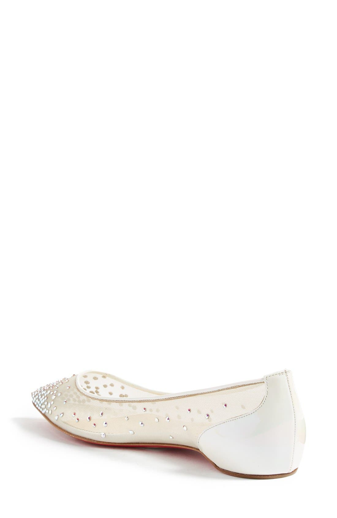 Follies Strass Pointy Toe Flat,                             Alternate thumbnail 2, color,                             White