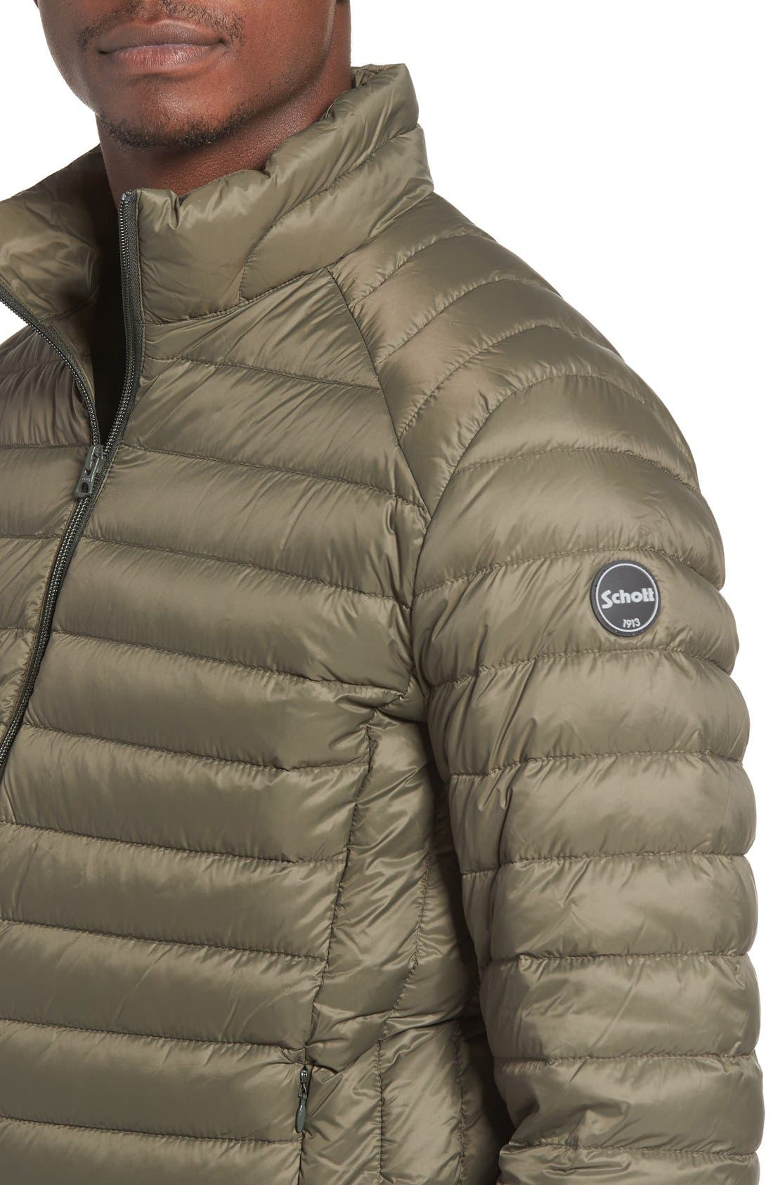 Quilted Down Jacket,                             Alternate thumbnail 4, color,                             Olive