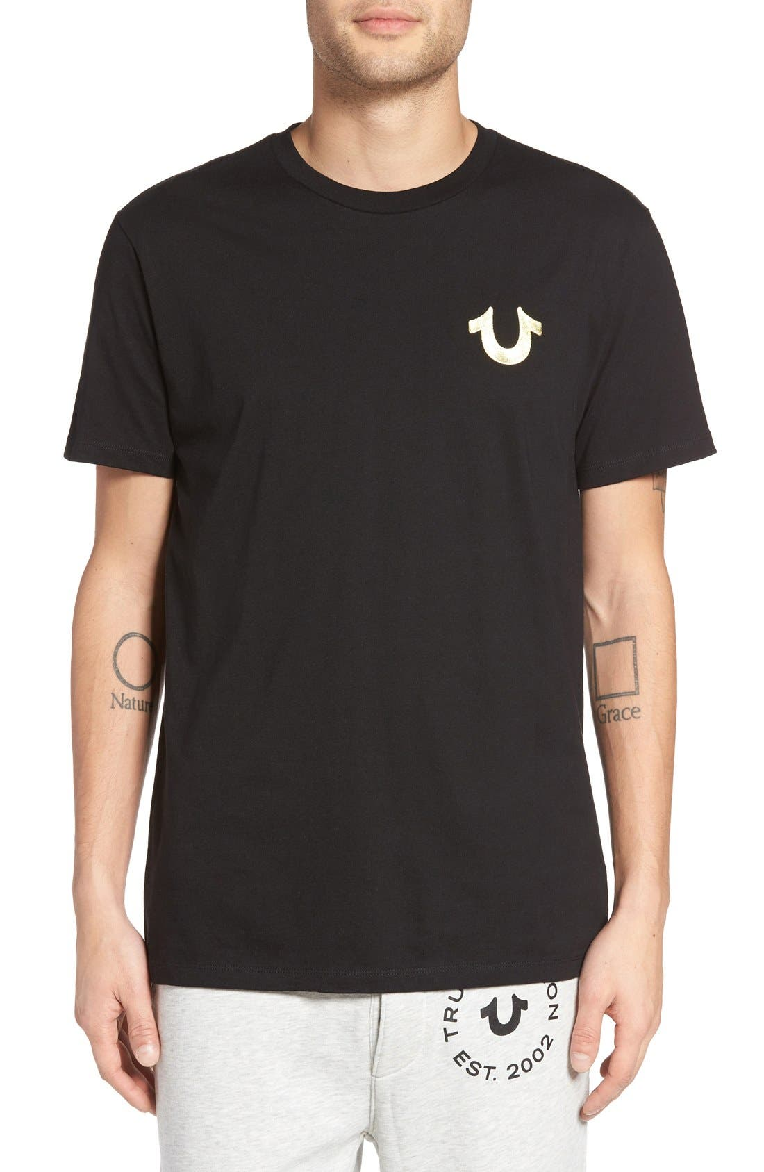 True Religion Brand Jeans Gold Buddha Graphic T-Shirt
