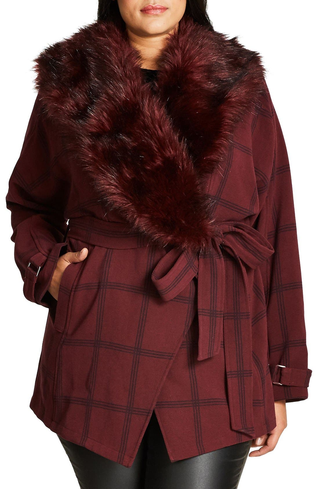 CITY CHIC Check Out Coat with Faux Fur Trim