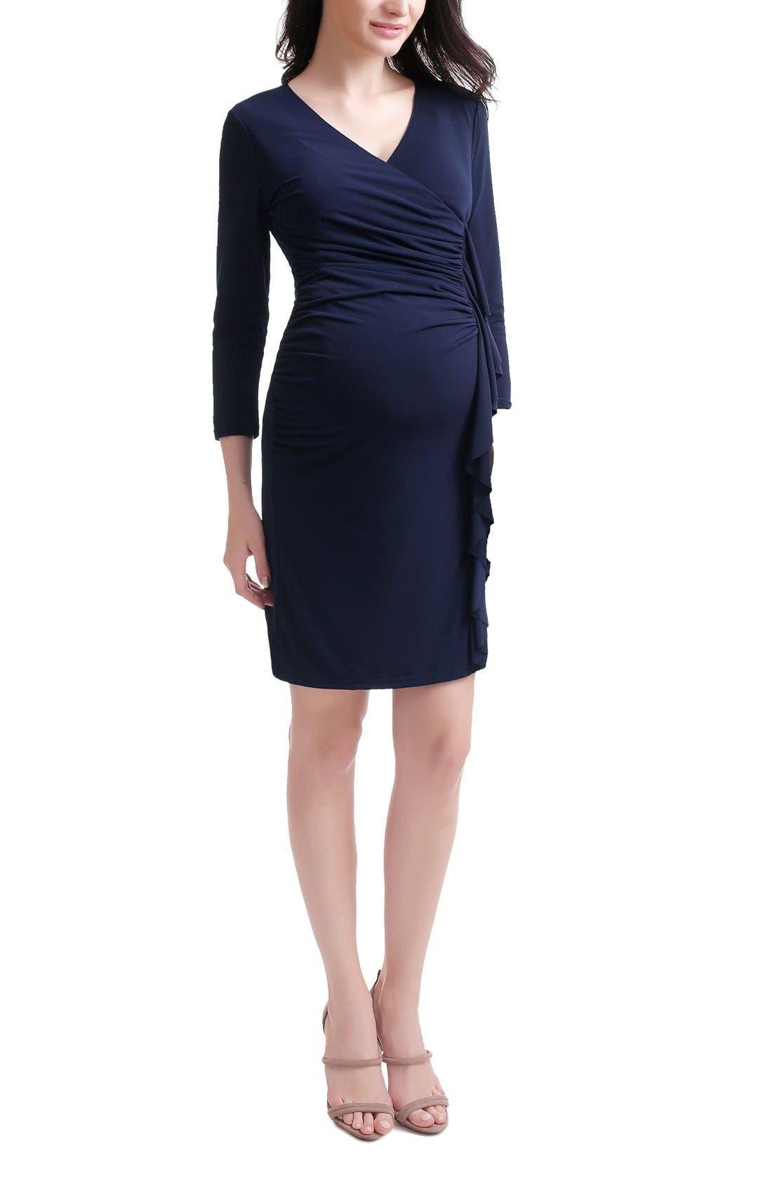 Gypsy Ruffle Maternity Dress,                         Main,                         color, Navy