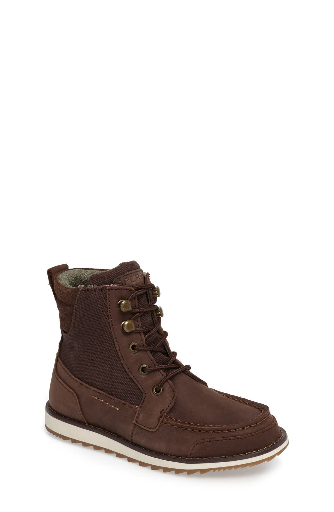 Sperry Dockyard Boot,                             Main thumbnail 1, color,                             Brown Faux Leather