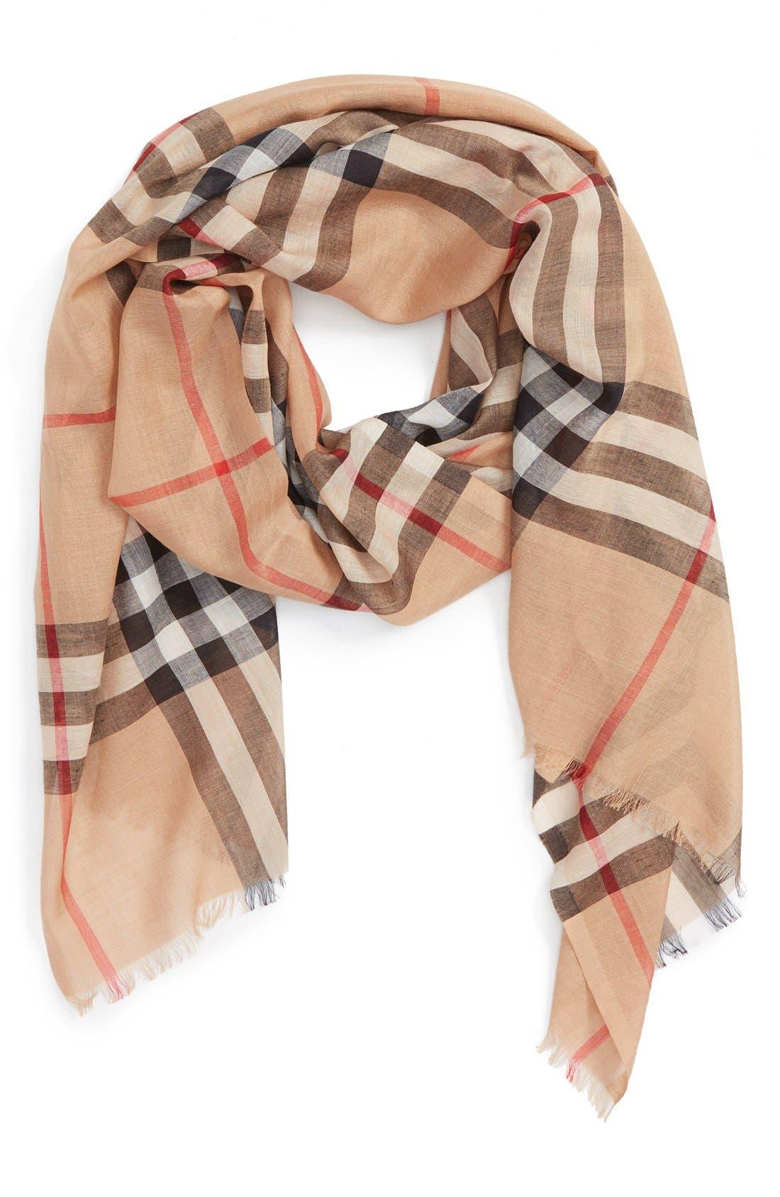 burberry giant check print wool  u0026 silk scarf