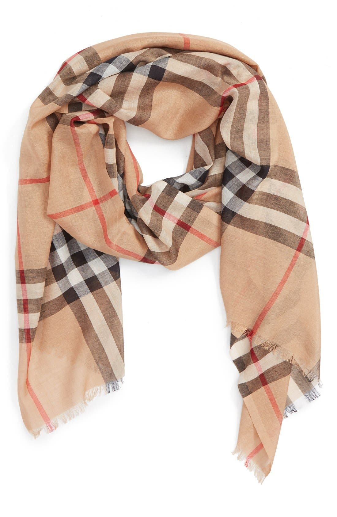 Burberry Giant Check Print Wool & Silk Scarf