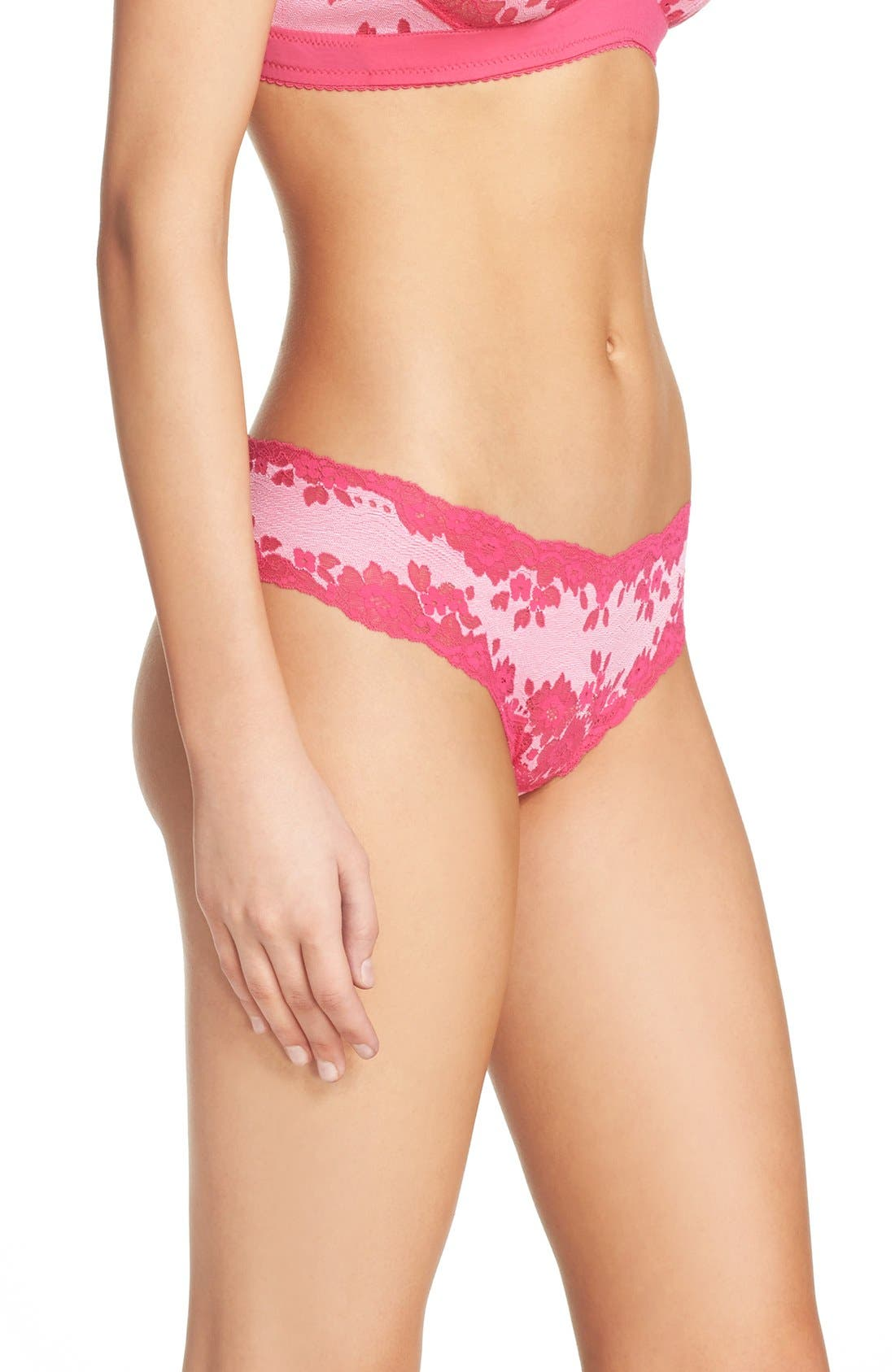'Italia' Low Rise Thong,                             Alternate thumbnail 3, color,                             Hot Pink/ Cherry