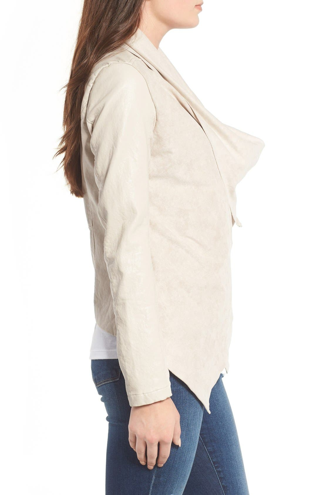 Alternate Image 4  - BLANKNYC Mixed Media Faux Leather Drape Front Jacket