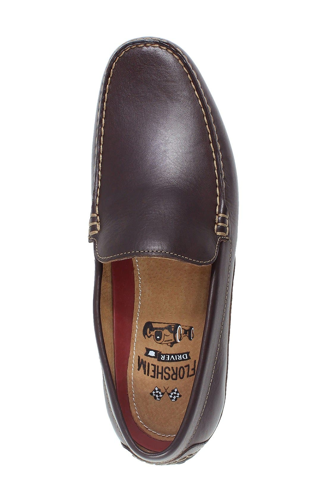 Oval Driving Shoe,                             Alternate thumbnail 3, color,                             Brown Leather