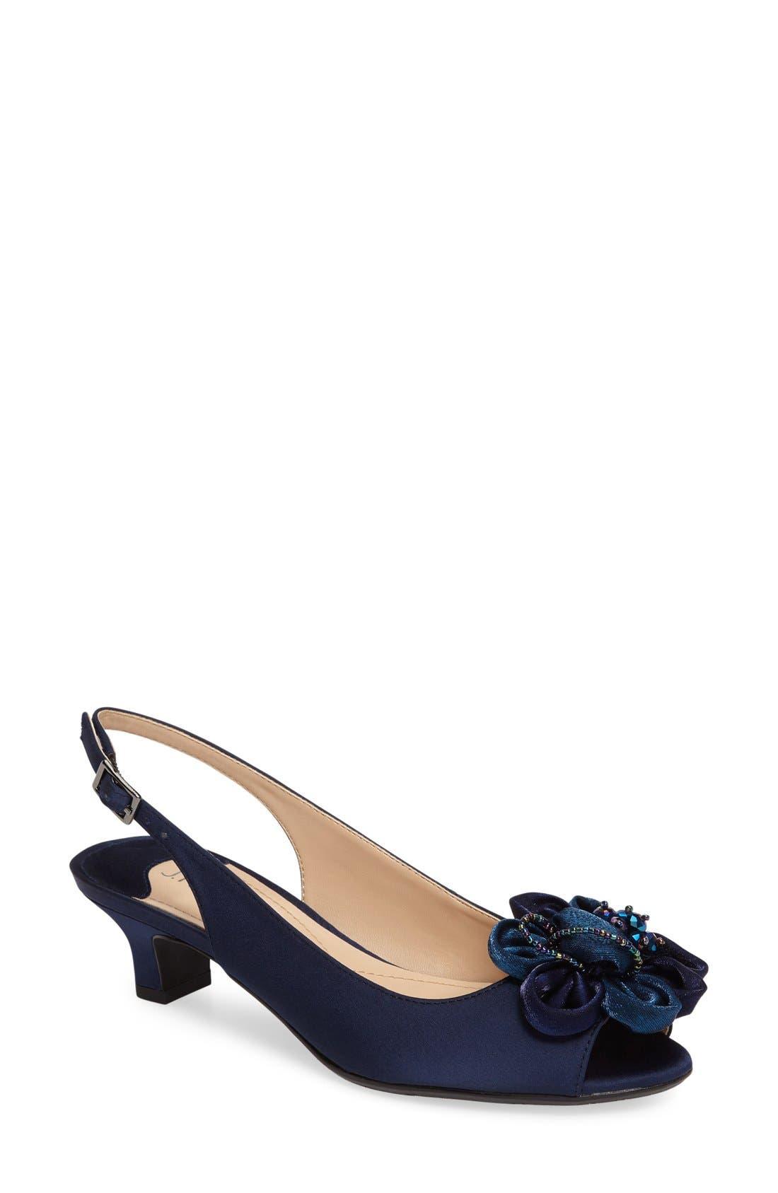 Leonelle Slingback Crystal Embellished Sandal,                         Main,                         color, Navy Satin