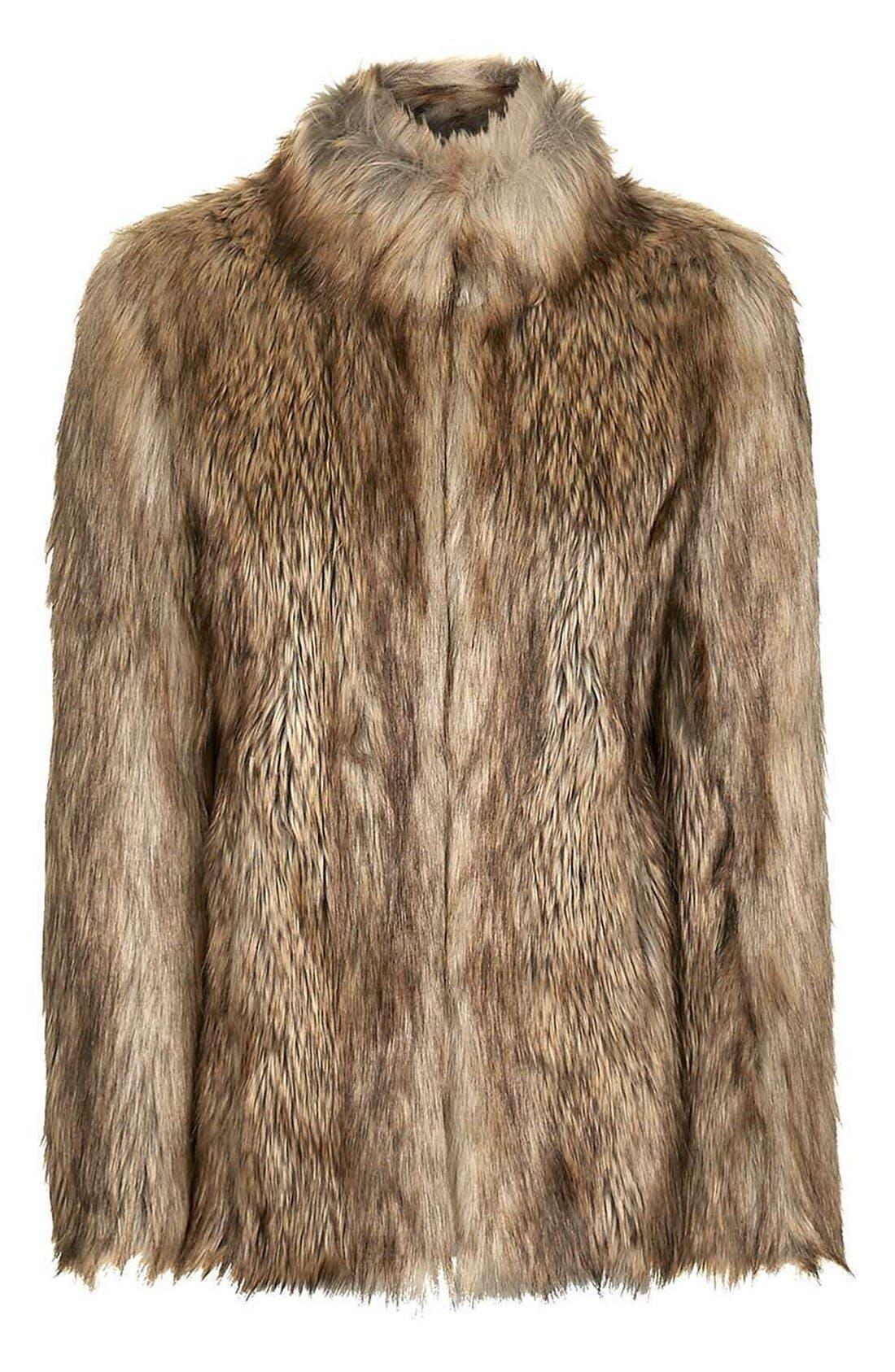 Kate Faux Fur Coat,                             Alternate thumbnail 5, color,                             Brown