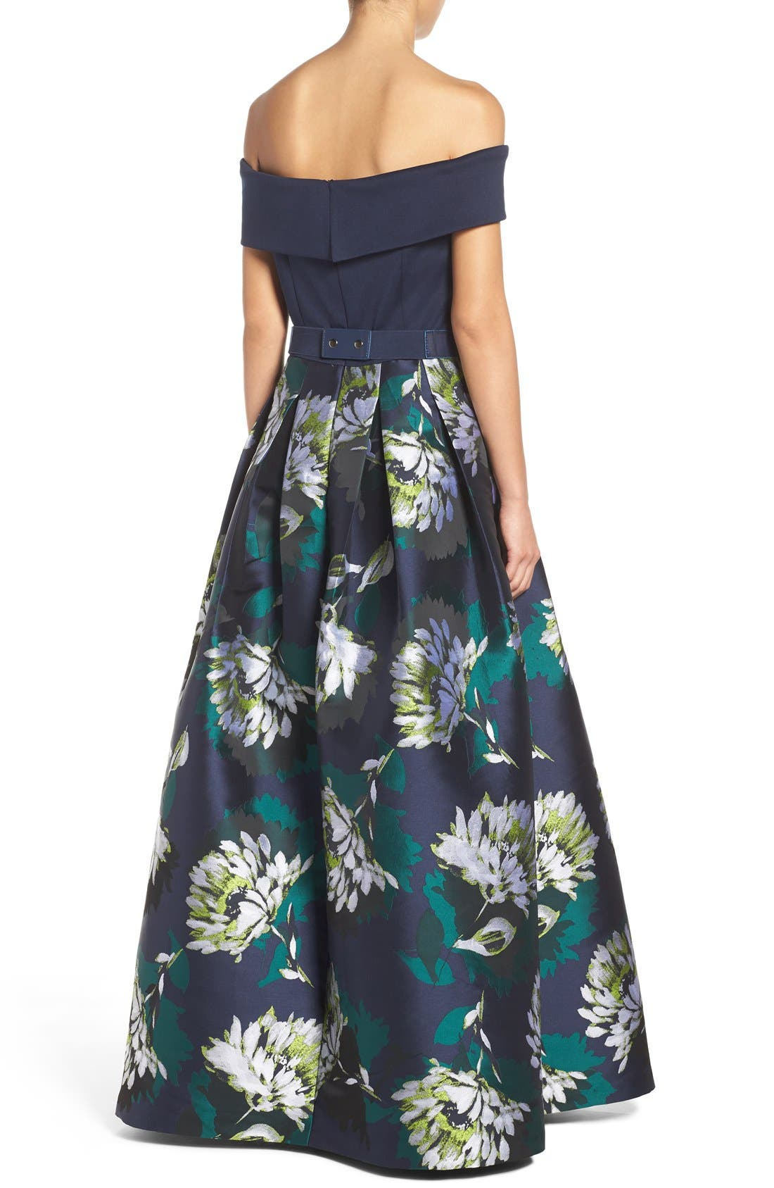 Off the Shoulder Ballgown,                             Alternate thumbnail 2, color,                             Navy/ Lime