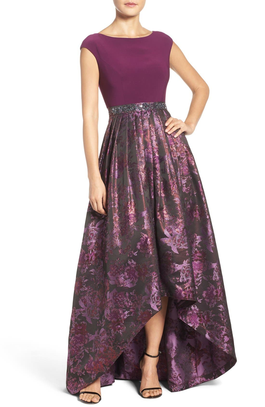 Alternate Image 1 Selected - Adrianna Papell Jersey & Jacquard Ballgown