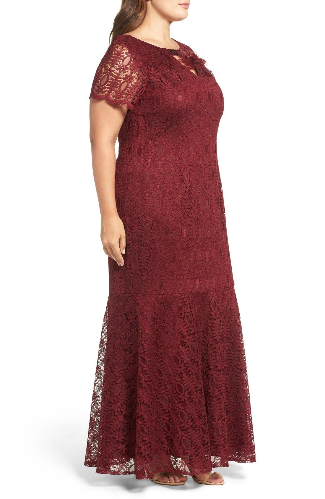 Embellished Lace Mermaid Gown,                             Alternate thumbnail 3, color,                             Garnet