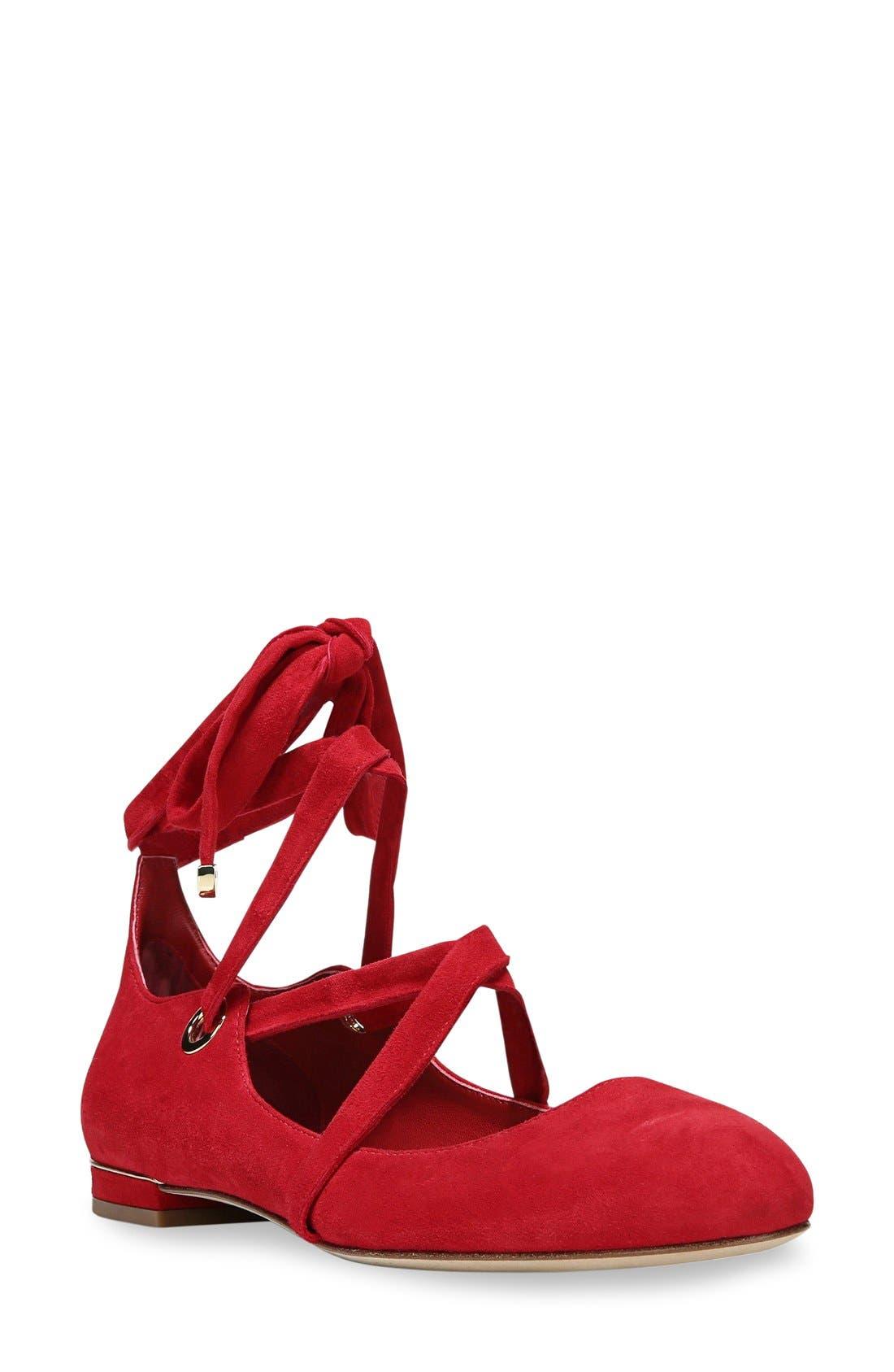 Alternate Image 1 Selected - Diane von Furstenberg Dakar Ankle Tie Flat (Women)