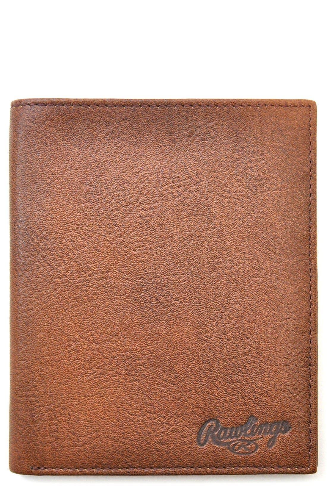 Triple Play Leather Executive Wallet,                             Main thumbnail 1, color,                             Cognac