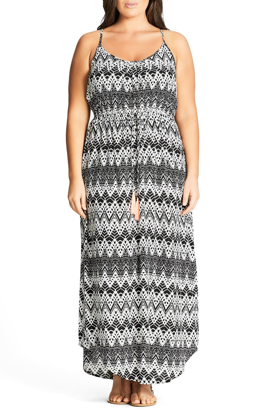 Mono Print Maxi Dress,                         Main,                         color, Black