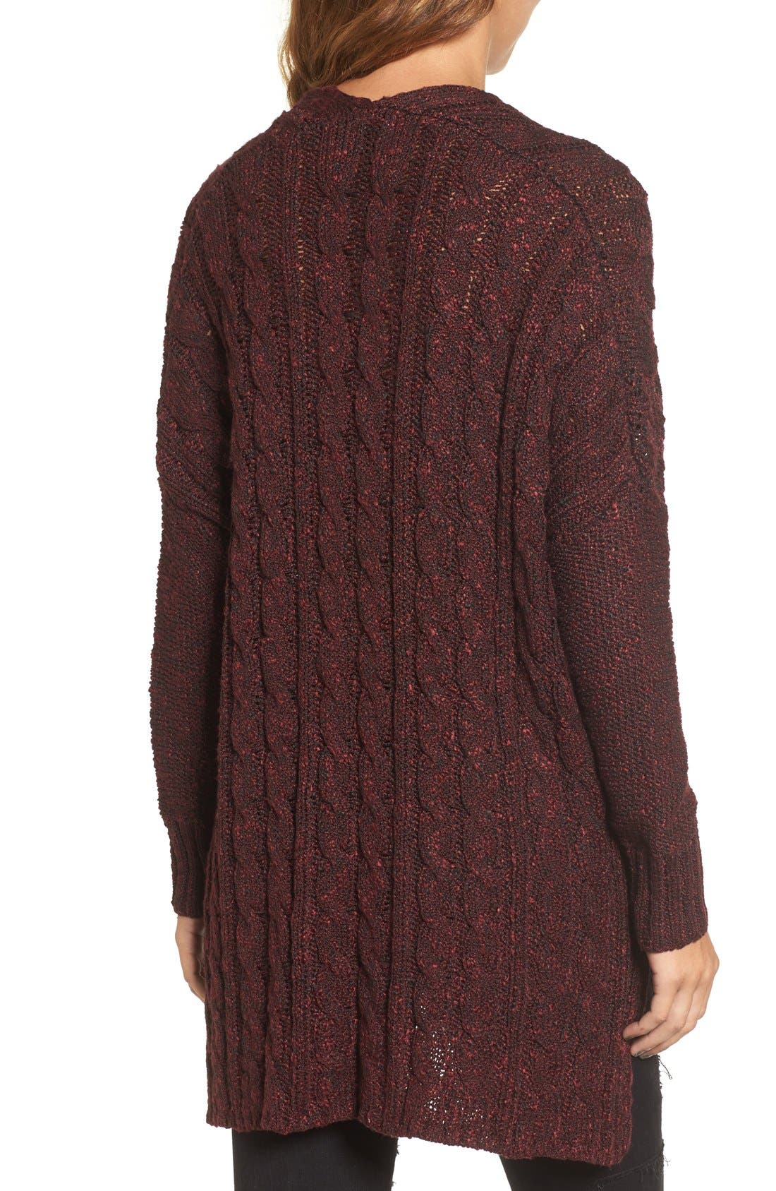 Marled Cable Knit Pullover,                             Alternate thumbnail 2, color,                             Burgundy/ Black Marl