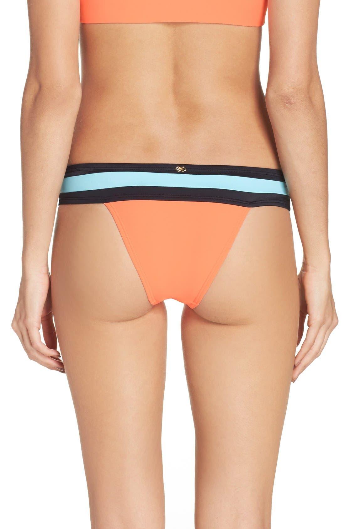 Colorblock Bikini Bottoms,                         Main,                         color, Coral