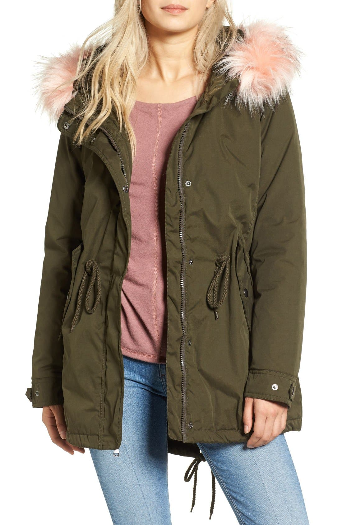 Tinsel Faux Fur Trim Parka