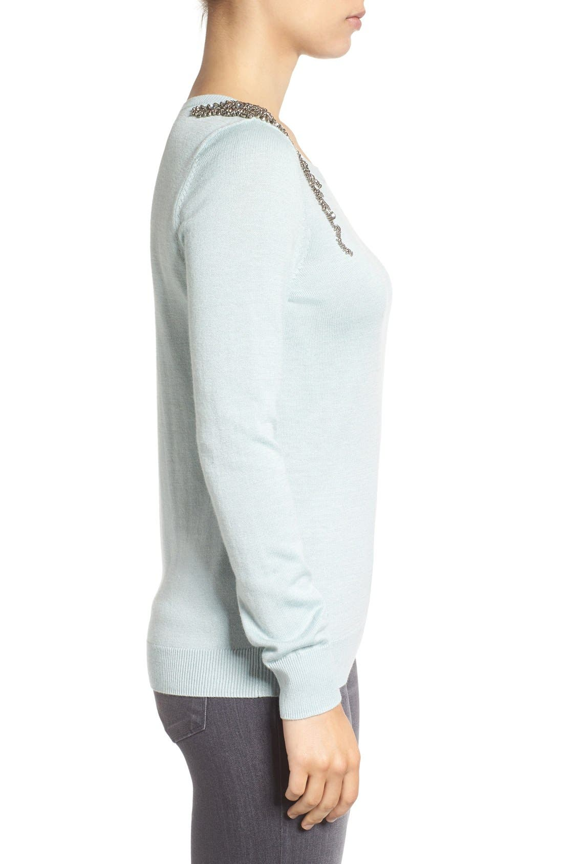 Alternate Image 3  - Halogen® Embellished Shoulder Sweater (Regular & Petite)