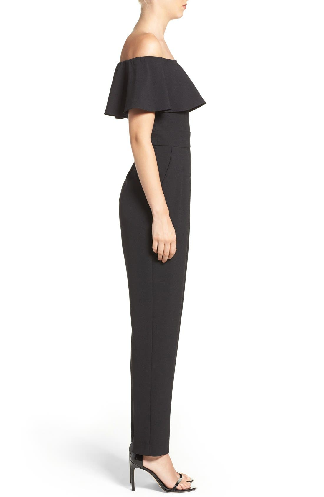Ruffle Jumpsuit,                             Alternate thumbnail 3, color,                             Black