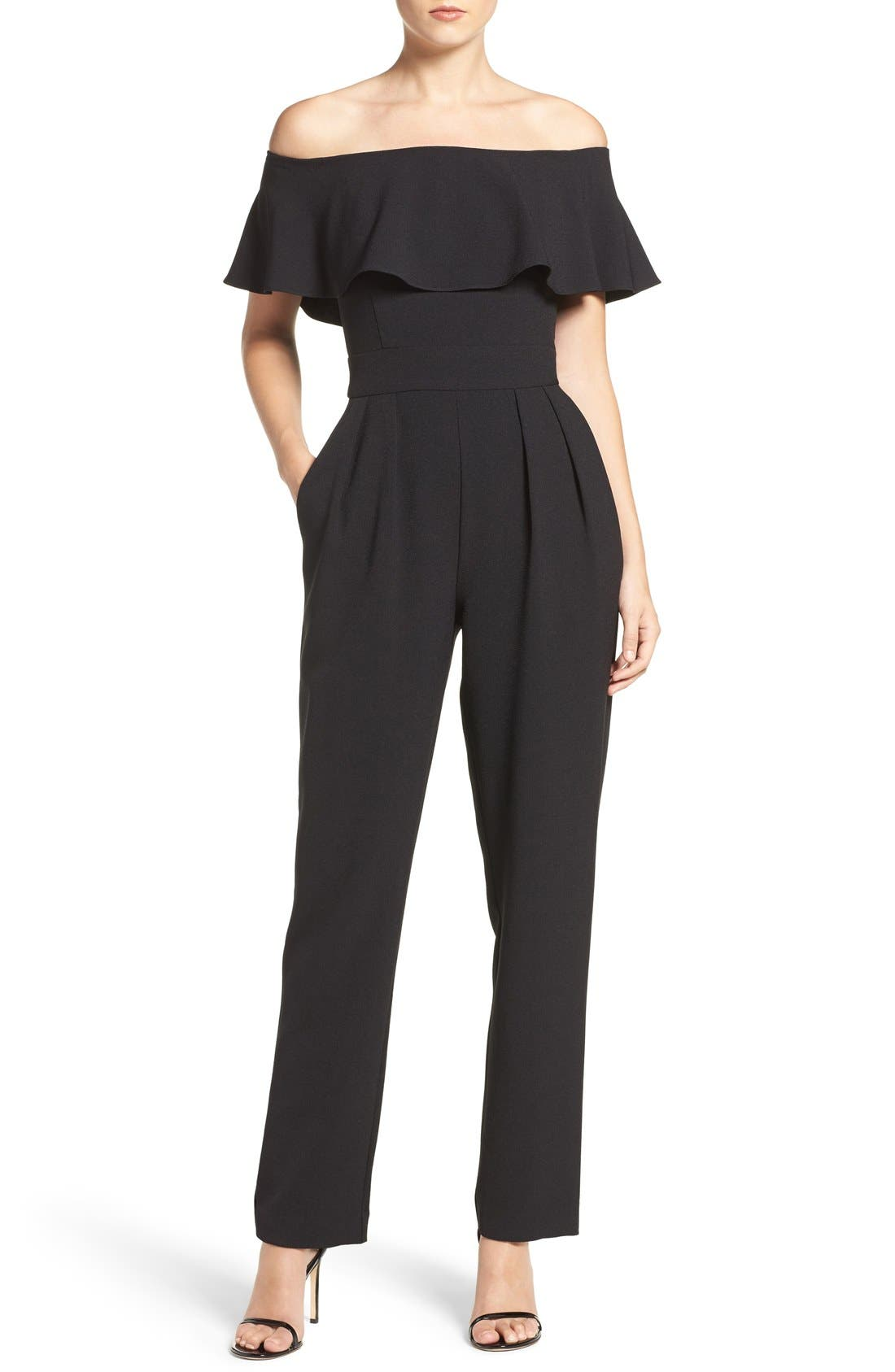 Ruffle Jumpsuit,                             Main thumbnail 1, color,                             Black