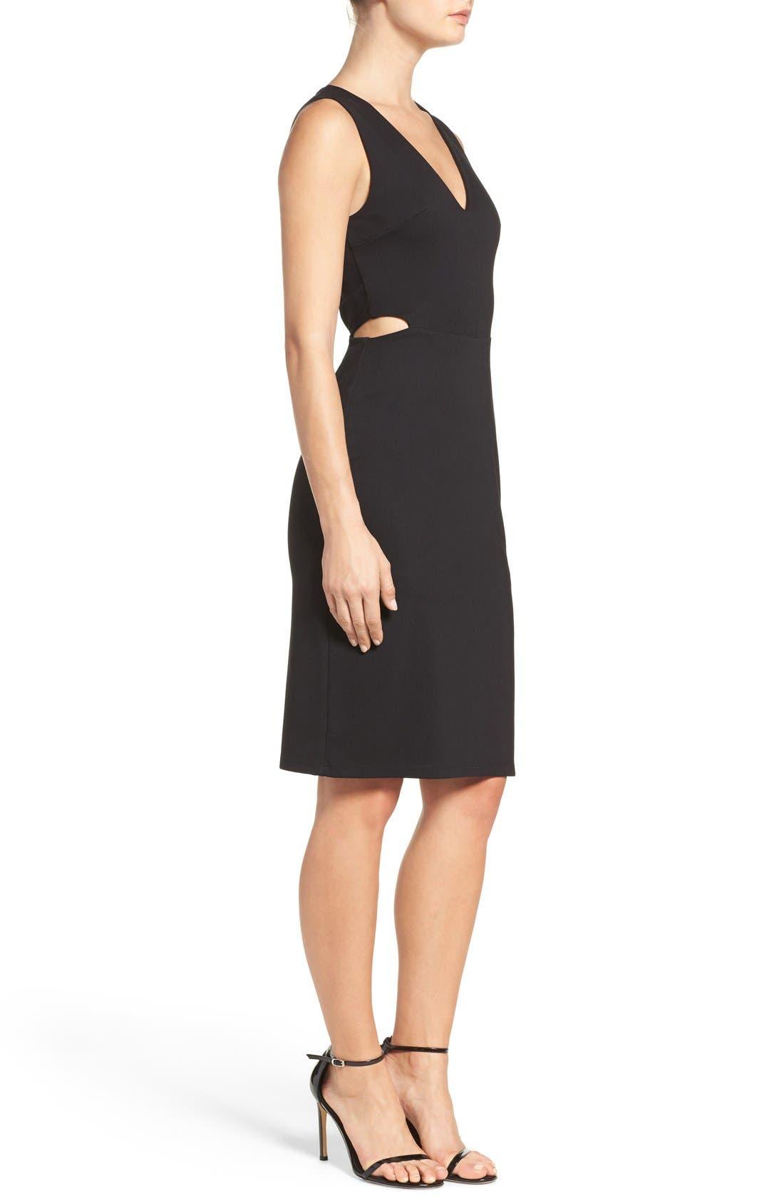 Ponte Cutout Sheath Dress,                             Alternate thumbnail 3, color,                             Black