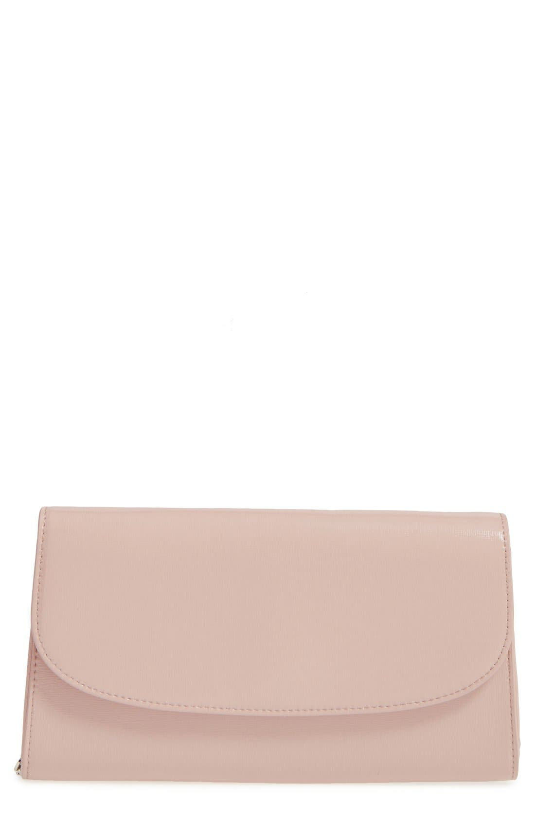 Leather Clutch,                         Main,                         color, Pink Dust