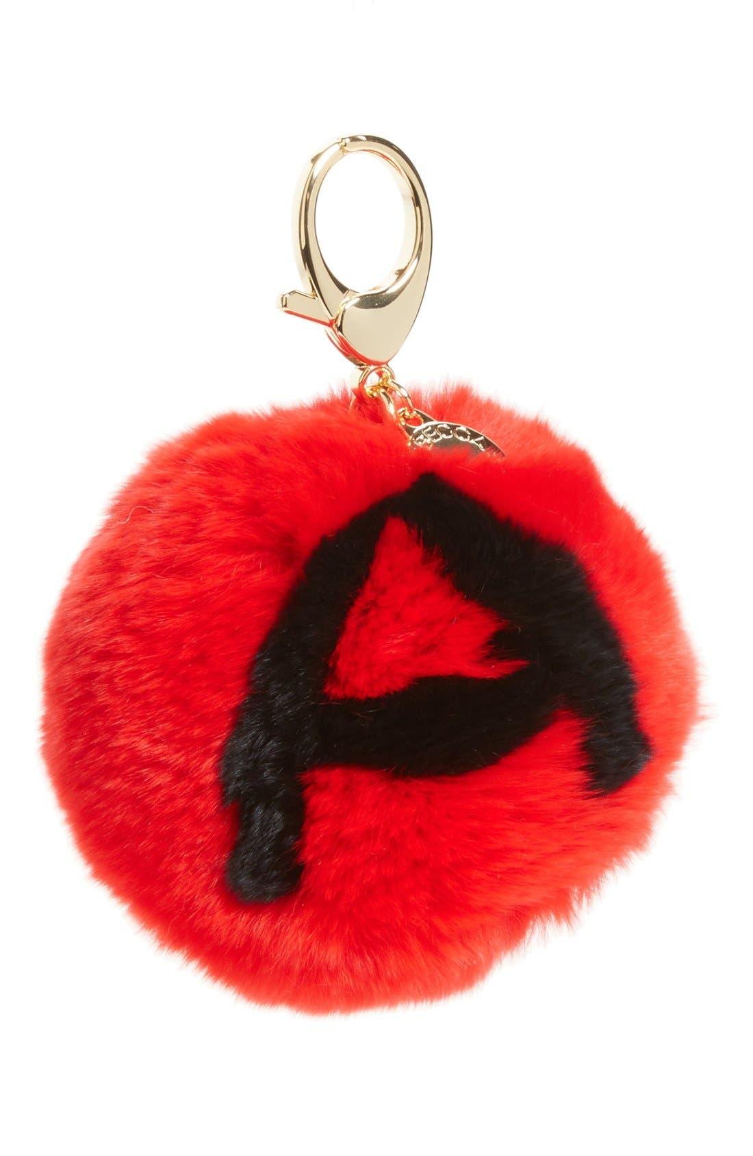 Alternate Image 1 Selected - Rebecca Minkoff Genuine Rabbit Fur Initial Pom Bag Charm