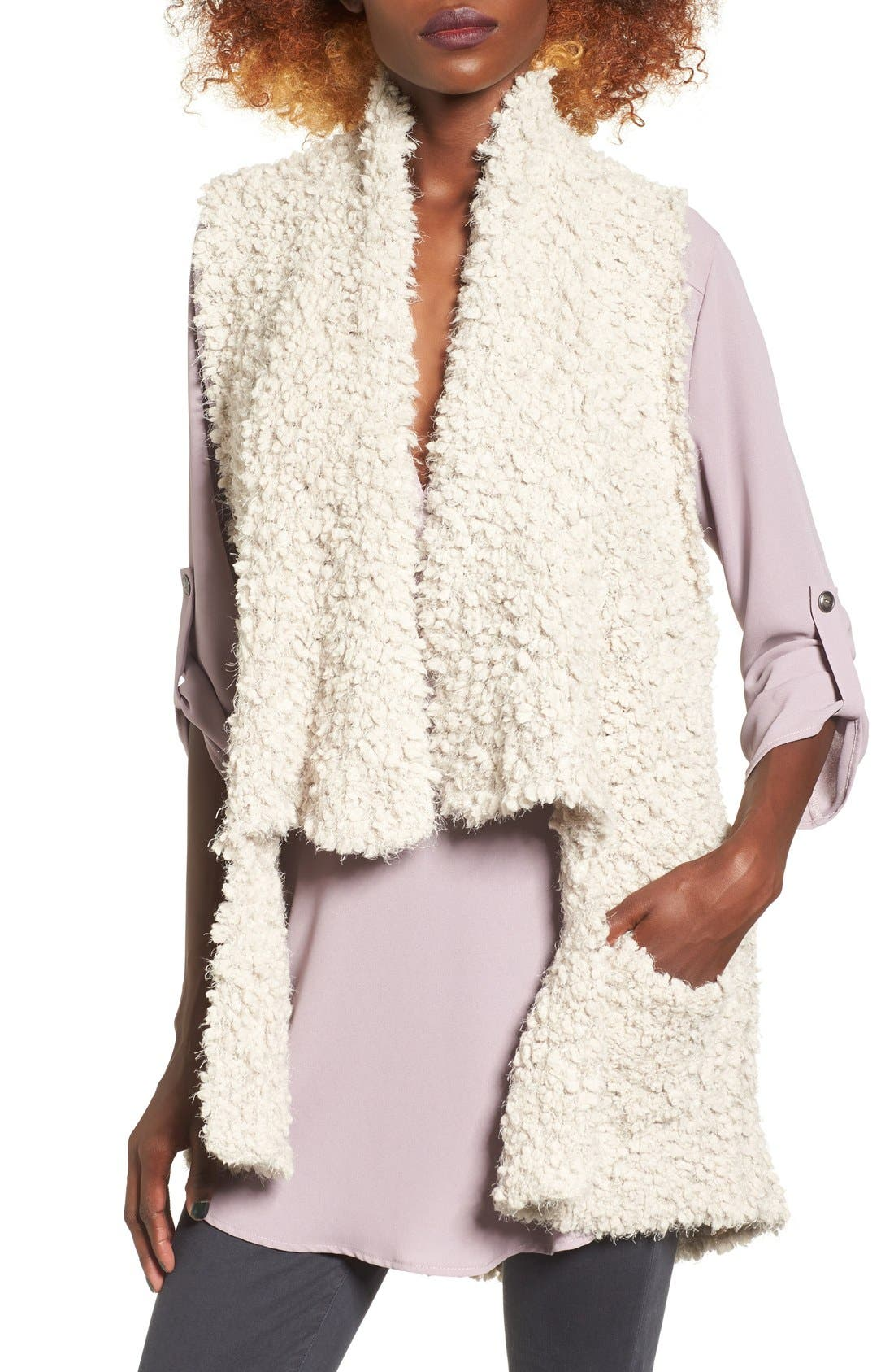 Faux Shearling Vest,                         Main,                         color, Clamshell