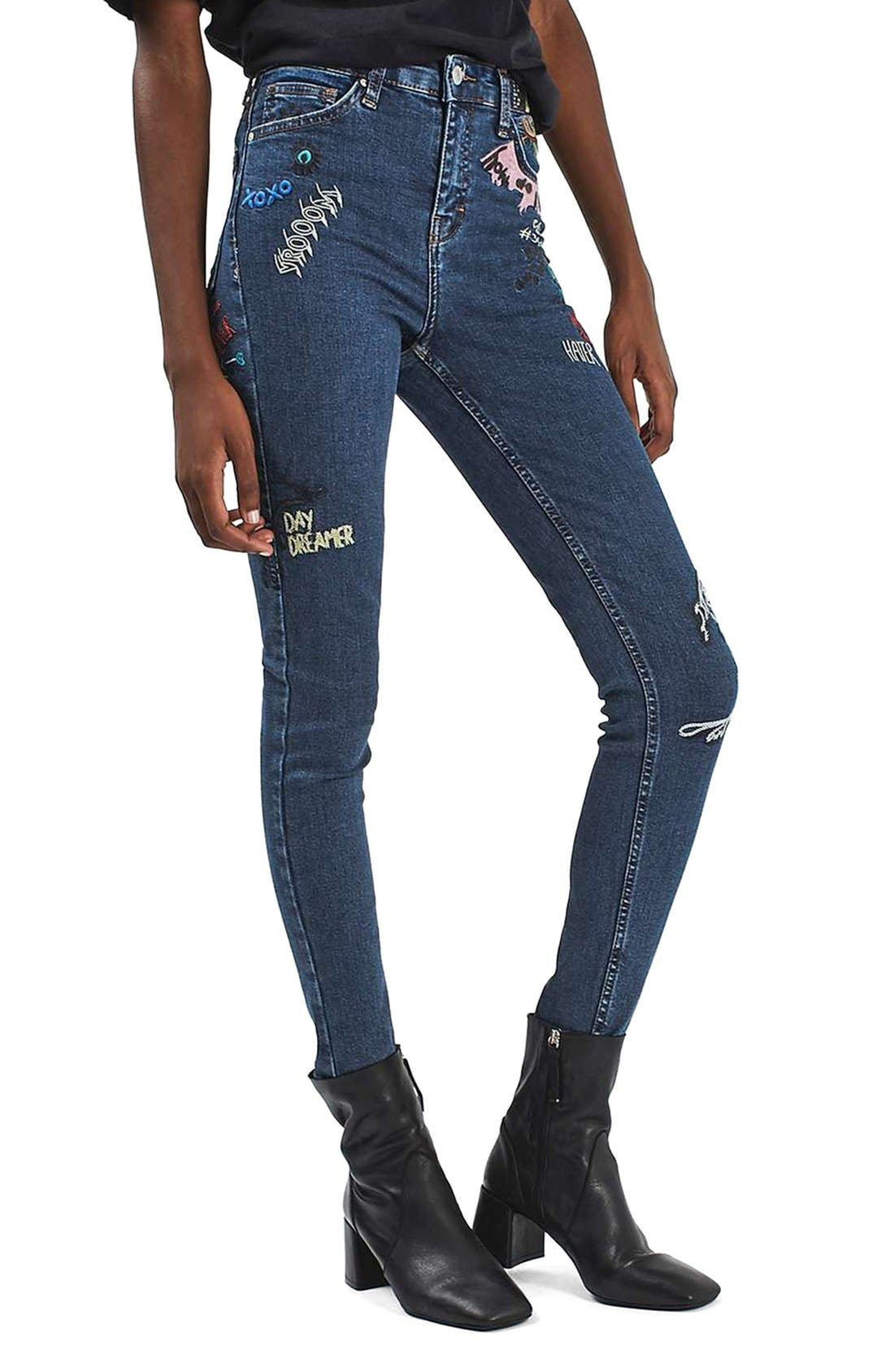 Main Image - Topshop Jamie Scribble High Rise Skinny Jeans
