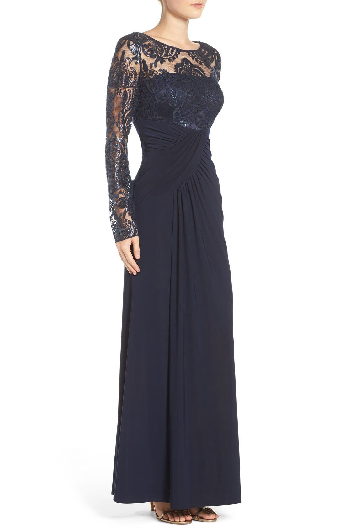 Draped Long Sleeve Gown,                             Alternate thumbnail 3, color,                             Navy