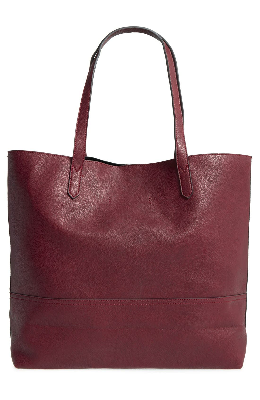 Dawson Oversize Faux Leather Shopper,                             Alternate thumbnail 3, color,                             Oxblood