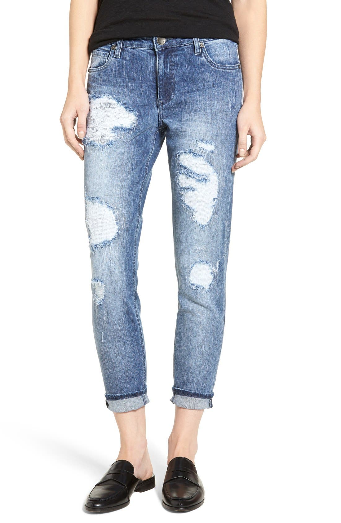 KUT from the Kloth Ripped Boyfriend Jeans (Immerse)
