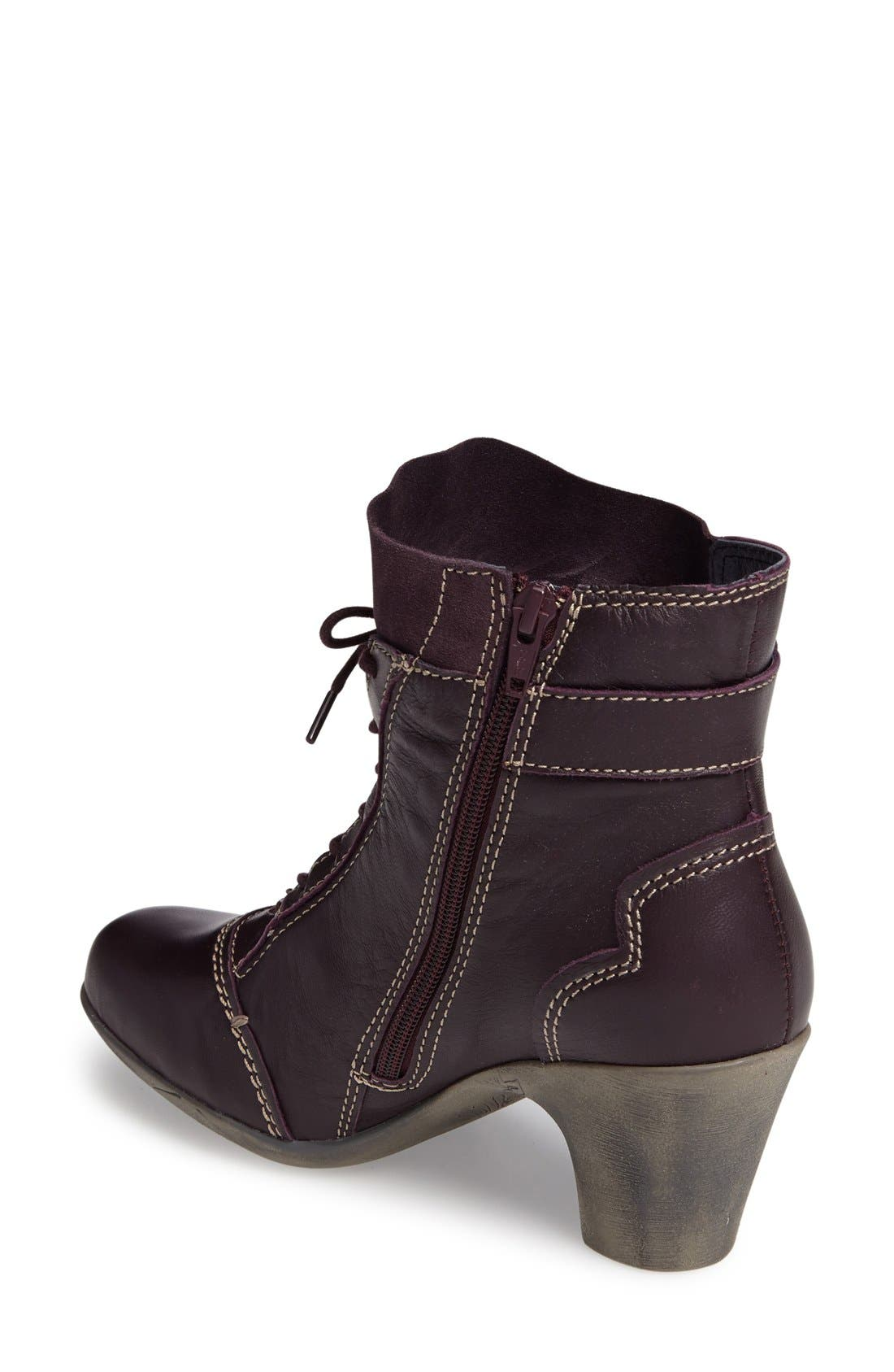'Jesse' Lace-Up Bootie,                             Alternate thumbnail 2, color,                             Aubergine Leather